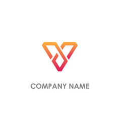 v initial triangle colored logo vector image