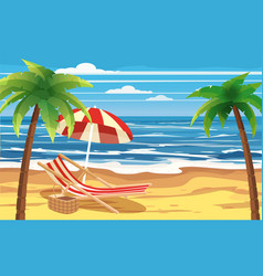 Vacation travel relax tropical beach umbrella vector