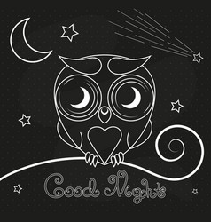 Vintage thin line owl label vector