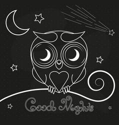vintage thin line owl label vector image