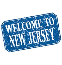 Welcome to New Jersey blue square grunge stamp vector