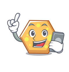 with phone hexagon character cartoon style vector image