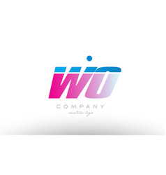 wo w o alphabet letter combination pink blue bold vector image