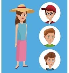 Woman tourist hat shirt and group boy traveler vector