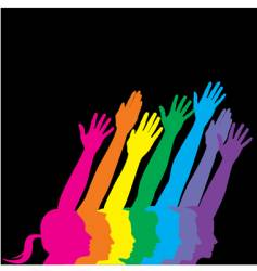 abstract neon hands profile vector image vector image