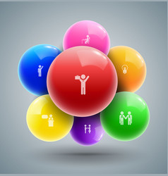 balls with business man icons vector image vector image