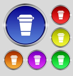 coffee icon sign Round symbol on bright colourful vector image