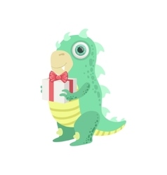 Dragon-like friendly monster with gift vector