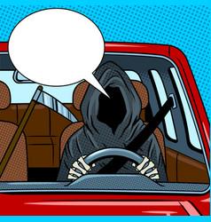 Grim reaper drive car pop art vector