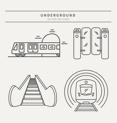 metro linear icons vector image