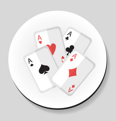 playing cards 4 aces sticker icon flat style vector image vector image