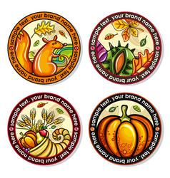 set of seasonal autumn round drink coasters vector image vector image
