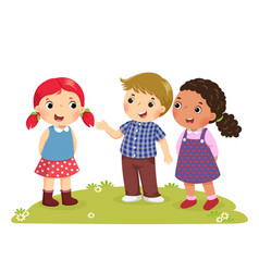 a boy introducing his friend to the girl vector image vector image