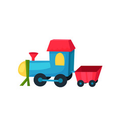 Colorful plastic locomotive on wheels with little vector