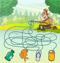 Fisherman Maze Game vector image vector image