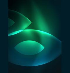glowing modern geometric shapes in dark space vector image