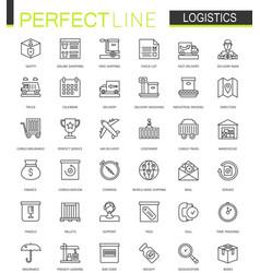 logistics thin line web icons set transportation vector image