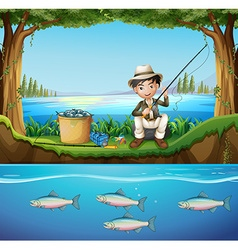Man fishing in the river vector image