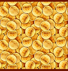 placer of glossy old gold coins seamless pattern vector image