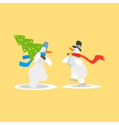 Two Funny Snowmen with a Christmas Tree vector image vector image