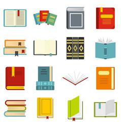 books set flat icons vector image
