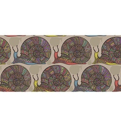 Seamless pattern with decorative ornamental snails vector image
