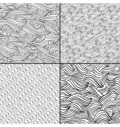 Set of four black and white wave patterns Black vector image vector image