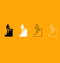 a man climbing stairs black and white set icon vector image