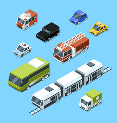 isometric transport 3d car icons set vector image vector image