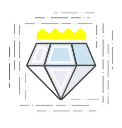 modern flat line icon diamond with a crown badge vector image
