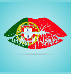 portugal flag lipstick on the lips isolated on a vector image