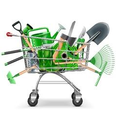 Supermarket Trolley with Garden Accessories vector image vector image