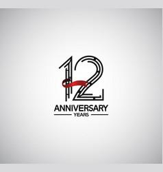 12 years anniversary logotype flat design vector