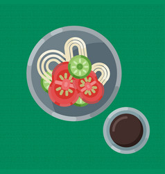 a hearty breakfast of noodle and fresh vegetables vector image