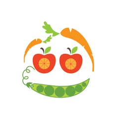 Abstract funny face of applecarrot and peas vector