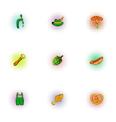Alcoholic beverage icons set pop-art style vector image