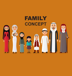 Arab family muslim people vector