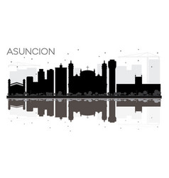 Asuncion paraguay city skyline black and white vector