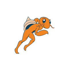 Athletics hermit crab character vector