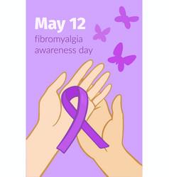 Awareness day fibromyalgia flyer with purple vector