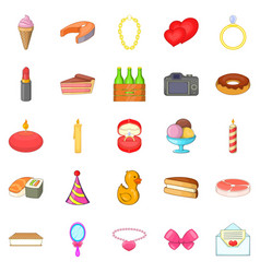 birthday icons set cartoon style vector image