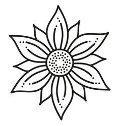 black and white round symmetrical hexagonal flower vector image