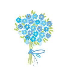 Blue tender forget-me-not flowers in retro style vector