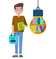 boy stand near light bulb with books inside it vector image