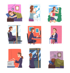 businesswoman or office employee daily routine set vector image
