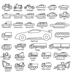 car icon set outline automobile cars vector image