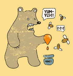 cartoon grunge funny bear with honey and bees vector image
