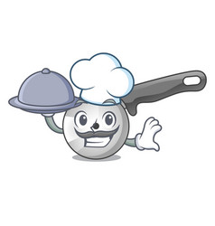 Chef with food pizza cutter cartoon in the kitchen vector