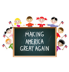 children american patriotic education concept vector image