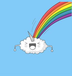 Cloud pooping rainbow vector